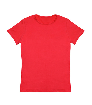 white men: Blank red t-shirt isolated on white Stock Photo