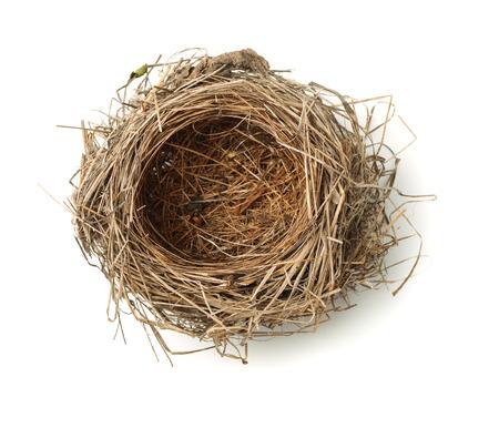 Bovenaanzicht van lege vogelnest op wit wordt geïsoleerd