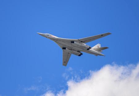 supersonic: Samara, Russia, August 22: Tu-160  White Swan supersonic strategic bomber on the airshow Editorial
