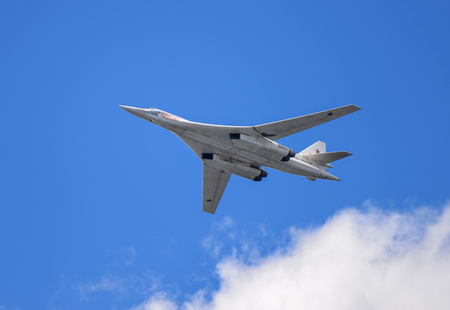 aircraft bomber: Samara, Russia, August 22: Tu-160  White Swan supersonic strategic bomber on the airshow Stock Photo