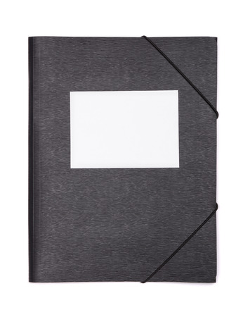 file folder: Black plastic document folder with blank label isolated on white