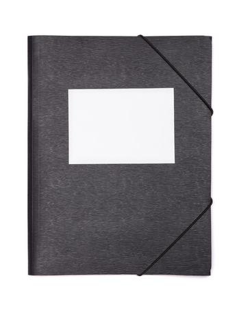 carpeta: carpeta de documentos de plástico negro con etiqueta en blanco aislado en blanco