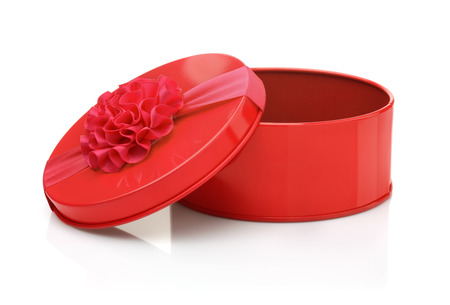 red metal: Red metal gift box isolated on white