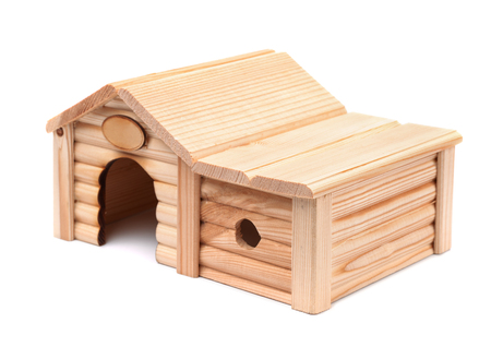 toy house: Wooden toy house isolated on white