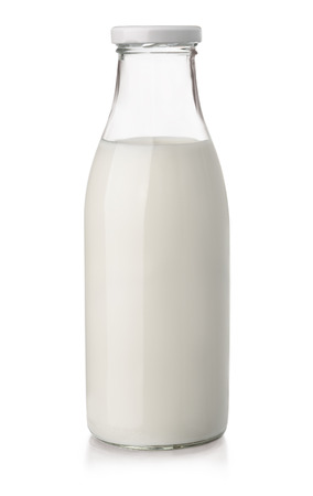 Milk bottle isolated on white Imagens