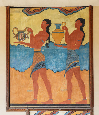 architectural heritage: Cup bearer fresco. Knossos palace, Crete, Greece. Editorial