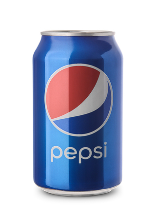 non alcoholic beverage: Samara, Russia - February 26, 2016: A product shot of an unopened  can of Pepsi isolated on white background. Pepsi is manufactured by Pepsico Inc. Editorial