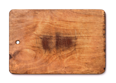 trencher: Old wood cutting board isolated on white