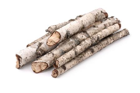 Stapel droge berken takjes geïsoleerd op wit Stockfoto