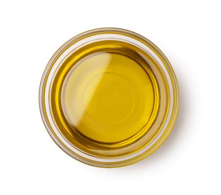 Bovenaanzicht van olijfolie kom geïsoleerd op wit Stockfoto