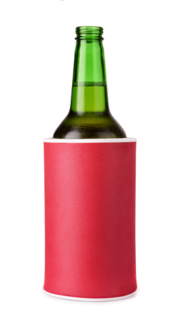 pu foam: Beer bottle in insulation foam holder isolated on white
