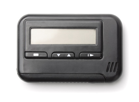 pager: Old pager isolated on white