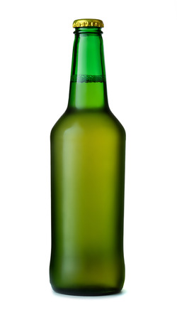 dew cap: Green beer bottle isolated on white Stock Photo