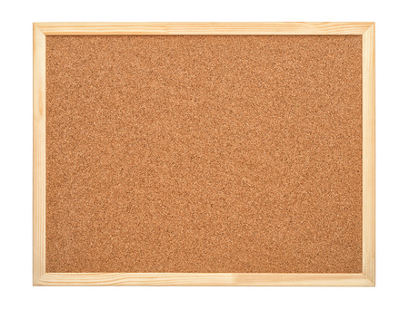 Blank cork board with wood frame isolated on white