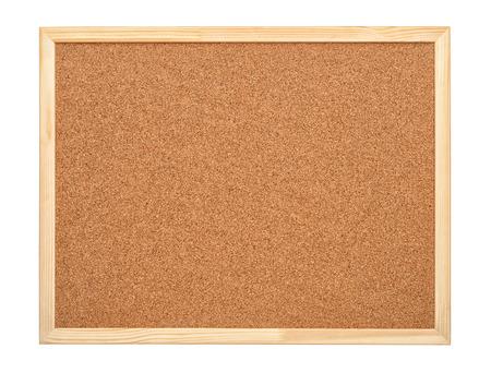 corcho: tablero de corcho blanco con marco de madera aislado en blanco