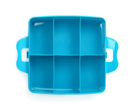 storage box: Top view of plastic storage box isolated on white