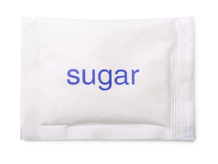 sweetener: Top view of paper sugar bag isolated on white Stock Photo