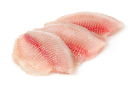 Fresh raw fish fillet isolated on white