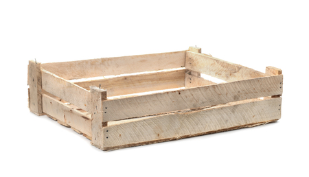 crate: Empty wooden fruit crate isolated on white Stock Photo