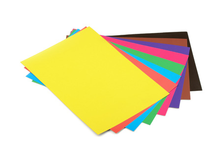 Colourful paper sheets isolated on white