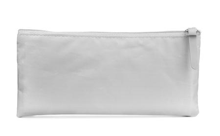 lapiz: Vista frontal de la caja de lápiz de color gris aislado en blanco