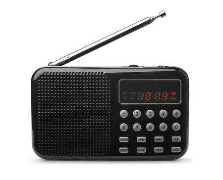 Pocket FM radio mp3 player isolated on white
