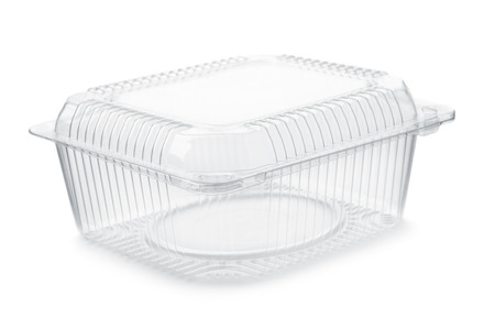 Empty transparent plastic food container isolated on white Imagens - 62367458