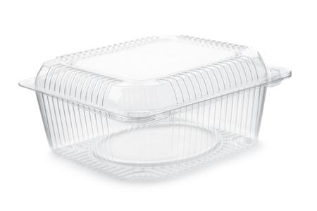 Lege transparante plastic voedselcontainer die op wit wordt geïsoleerd Stockfoto