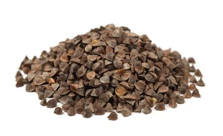 Pile of unhulled buckwheat isolated on white Stock Photo - 62367467