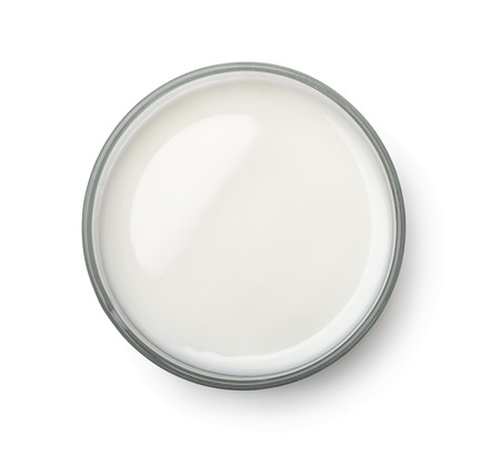 top angle view: Top view of milk glass isolated on white