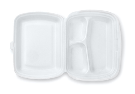 hinged: Open foam hinged three compartment meal container isolated on white Stock Photo