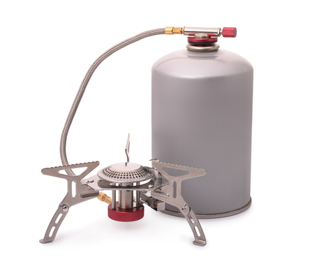 primus: Portable camping burner stove isolated on white Stock Photo