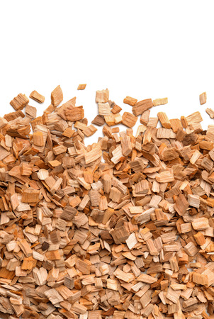 Close up of smoking woodchips with empty space Stock Photo