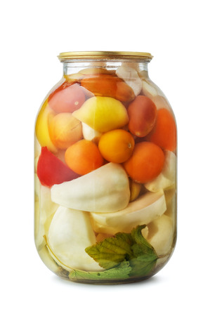 assorted: Jar of assorted pickled vegetables isolated on white