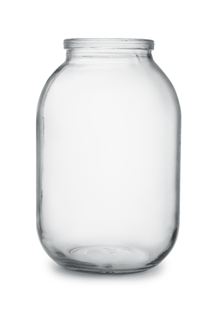 airtight: Large empty glass canning jar isolated on  white