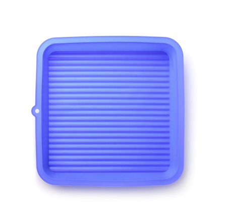 silicone: Top view of  blue silicone pan isolated on white