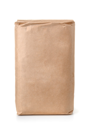 Front view of blank brown paper bag isolated on white