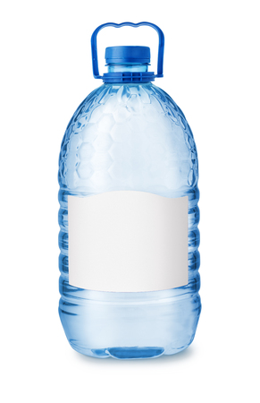 Front view of big plastic water bottle with blank label ioslated on white Stock Photo