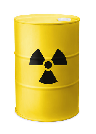 Front view of yellow barrel with radiation sign isolated on white
