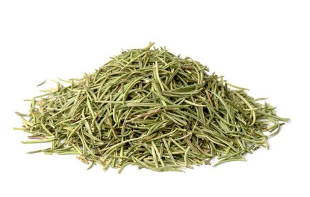 dried: Pile of dried rosemary isolated on white Stock Photo