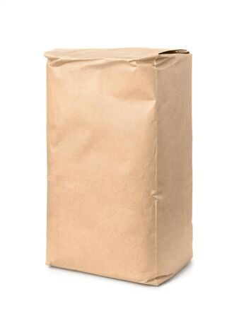 craft paper: Brown kraft paper food bag isolated on white Stock Photo