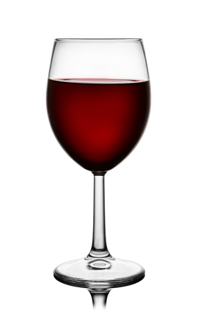 Front view of red wine glass isolated on white
