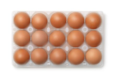 plastic box: Top view of plastic egg carton with 15 eggs isolated on white