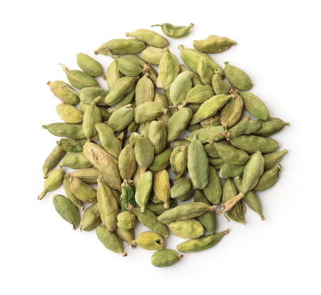 Top view of dry cardamom pods isolated on white