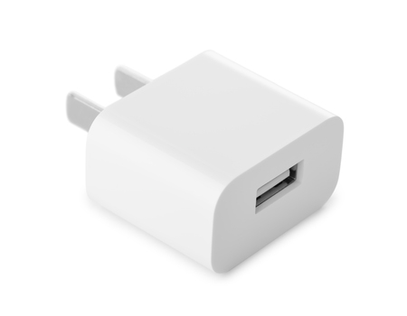 Usb wall charger plug isolated on a white