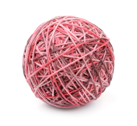 Ball of multi color acrylic hand knitting yarn isolated on white