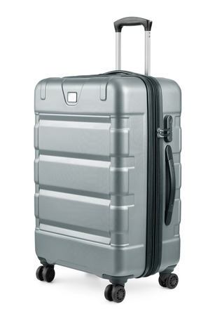 large: Large silver plastic suitcase isolated on white