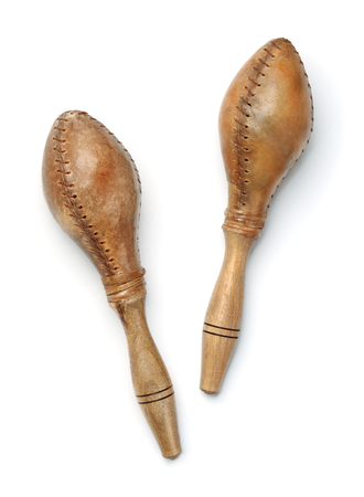 Top view of maracas made of leather and wood isolated on a white