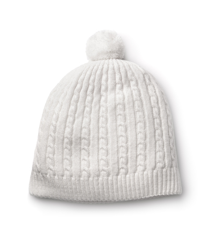 bobble: White winter knitted cap isolated on white