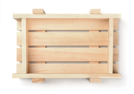 trompo de madera: Top view of empty wooden fruit crate isolated on white Foto de archivo